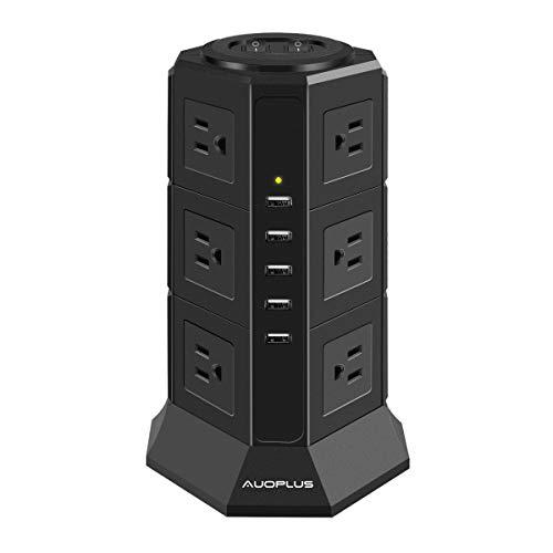 AUOPLUS 電源タップ タワー式 12個AC口 コンセント 5USBポート 一括スイッチ トリプルタップ oaタップ たこ足配線 延長コード 2m 雷ガード マルチタップ プラグソケット テーブルタップ (3段)