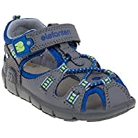 elefanten Boys -Toddler Comfort Closed Toe Sandals with Upper Strap and Elastic Spiral Laces