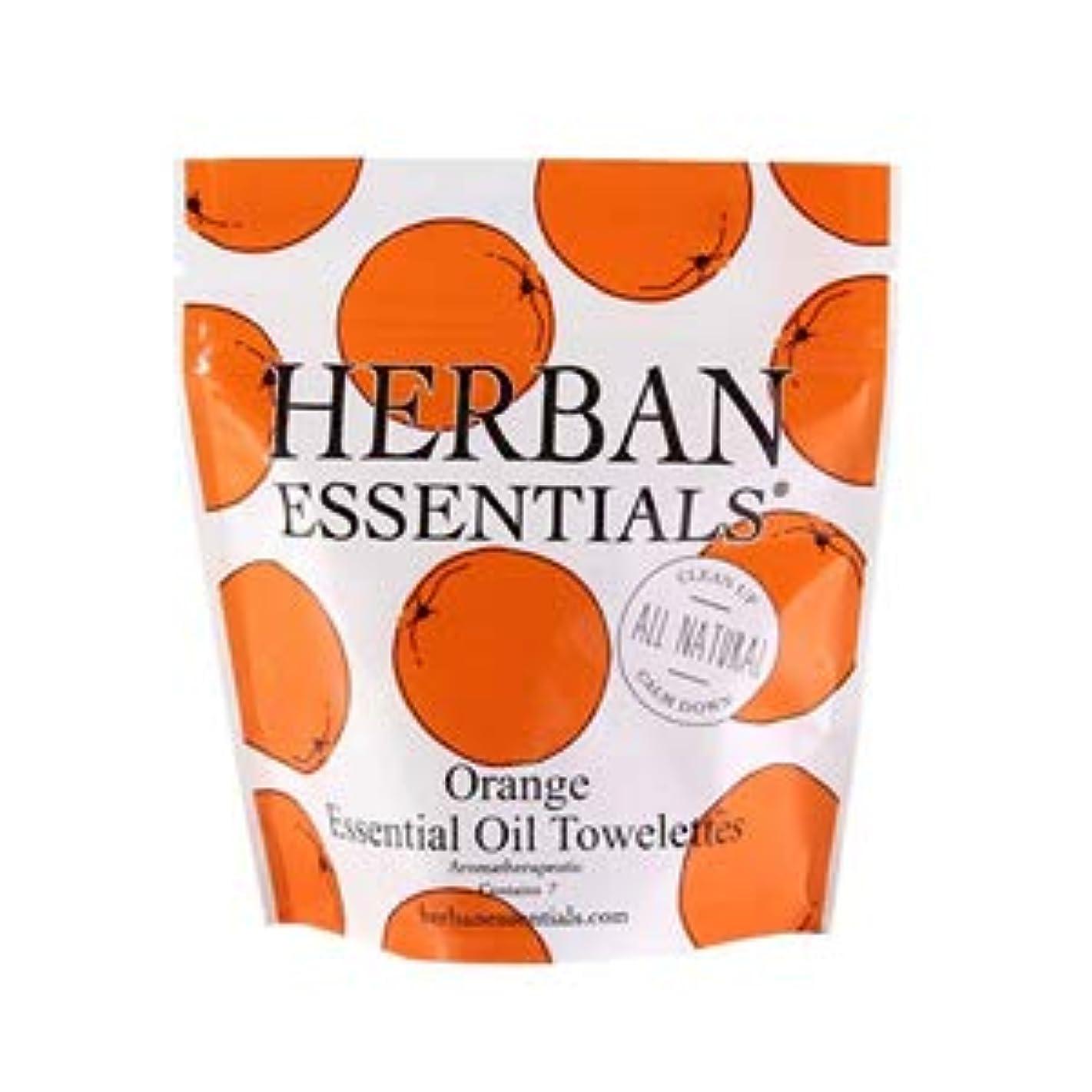 ご覧くださいおじさん閉じるハーバンエッセンシャルズ HERBAN ESSENTIALS アロマタオル ミニ オレンジ 7包