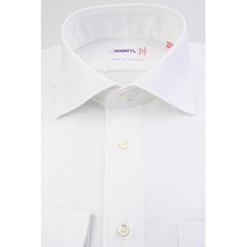(スキャッティ) SCHIATTI 白無地 マイクロへリンボーン ドビー 綿100% ワイドカラー (細身) ドレスシャツ wd4169-3882