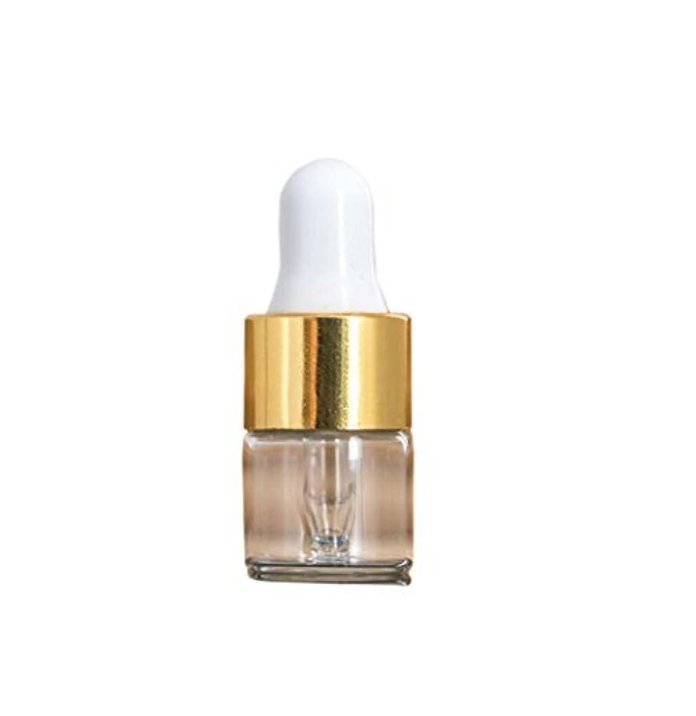 なんでも届ける公式Clear Glass Mini 1ml 15 Pcs Refillable Essential Oil Dropper Bottles Containers Cosmetic Sample Bottles Aromatherapy Liquid Eye Dropper Bottle Vials (gold cap) [並行輸入品]