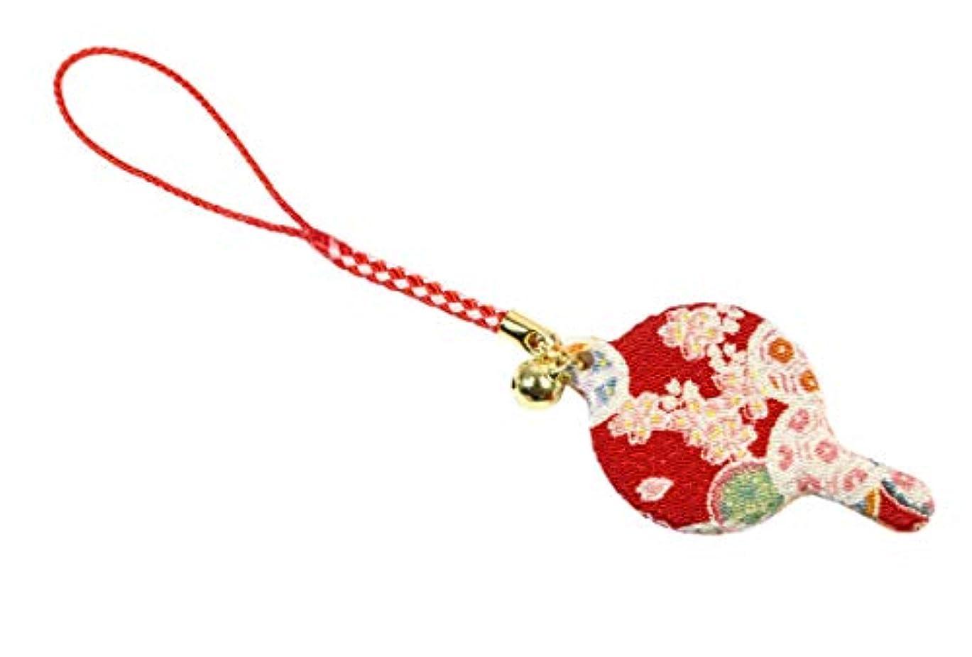 ズームインするほこりっぽいパイZOON(ズーン) 花ちりめん ミニハンドミラー 赤 和柄 着物 ちりめん 生地 布製 根付け ミニ鏡 日本製 お土産 赤
