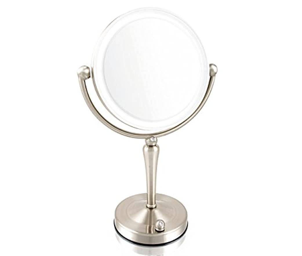 麻痺させる自己尊重終わり安もの拡大鏡とは見え方が全く違います!拡大鏡 5倍拡大+等倍鏡+LEDライト付き 真実の鏡DX 両面Z型 ブロンズ調 人気No.1両面型を真鍮仕上げとジルコニアで高級感UP。シミ?しわ?たるみ?毛穴が驚くほど良く見える拡大鏡...