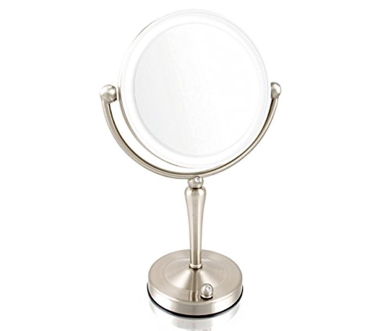 安もの拡大鏡とは見え方が全く違います!拡大鏡 5倍拡大+等倍鏡+LEDライト付き 真実の鏡DX 両面Z型 ブロンズ調 人気No.1両面型を真鍮仕上げとジルコニアで高級感UP。シミ?しわ?たるみ?毛穴が驚くほど良く見える拡大鏡...