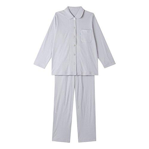 (ワコール)Wacoal 睡眠科学 ふわごころ パジャマ上下セット ラムコ 綿100(GY-グレー、M)