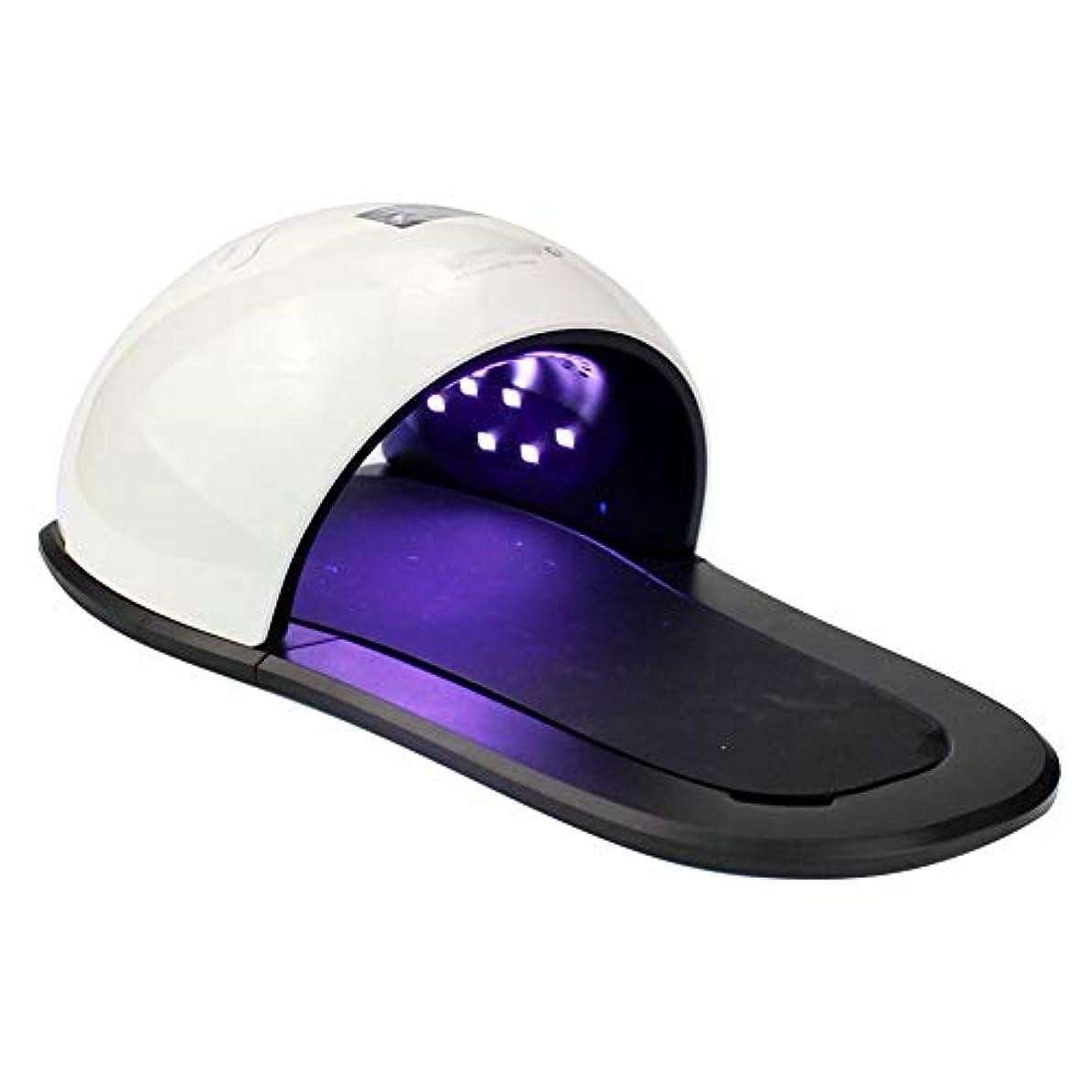隠すくちばし汚染するネイルドライヤー - ネイルled光線療法ランプネイルマシン紫外線光線療法マシン手と足2 in 1黒と白のステッチ48 wネイルドライヤー
