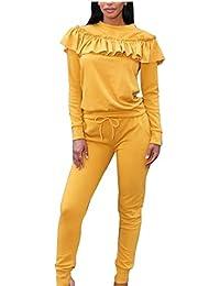 Fly Year-JP 女性の2つの部分服装ラッフル長いスリーブトップと長いパンツSweatitsセットトラックスーツ