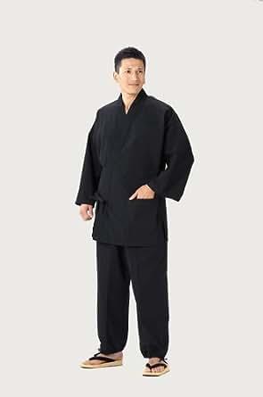 久留米紬織作務衣 日本製 飲食店のユニフォーム、御祝、内祝、父の日、敬老の日、還暦祝い、プレゼントにも (S, 黒)