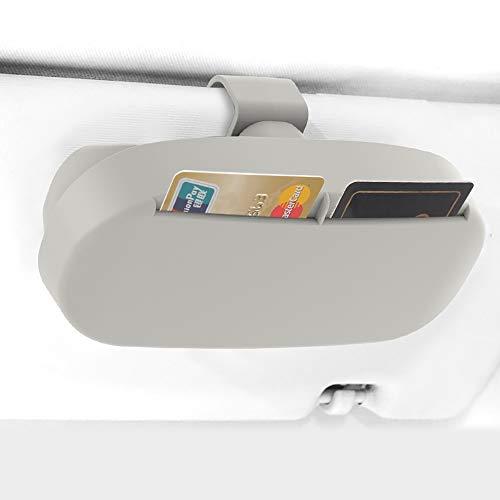 WGL 車載 メガネ ホルダー カー サンバイザー 用 サングラス 眼鏡 収納 ボックス カード収納 マグネット付き 取り付け簡単 耐衝撃 小物収納ボックス (グレー CDJ-5-YJHCK60)