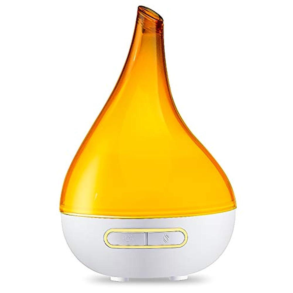 大きさ闇百科事典超音波 エッセンシャル オイル ディフューザー 電気 涼しい霧の加湿器 調節可能なミスト付け アロマディフューザー 夜間照明付き 赤ちゃんの家-オレンジ 15x23.7cm