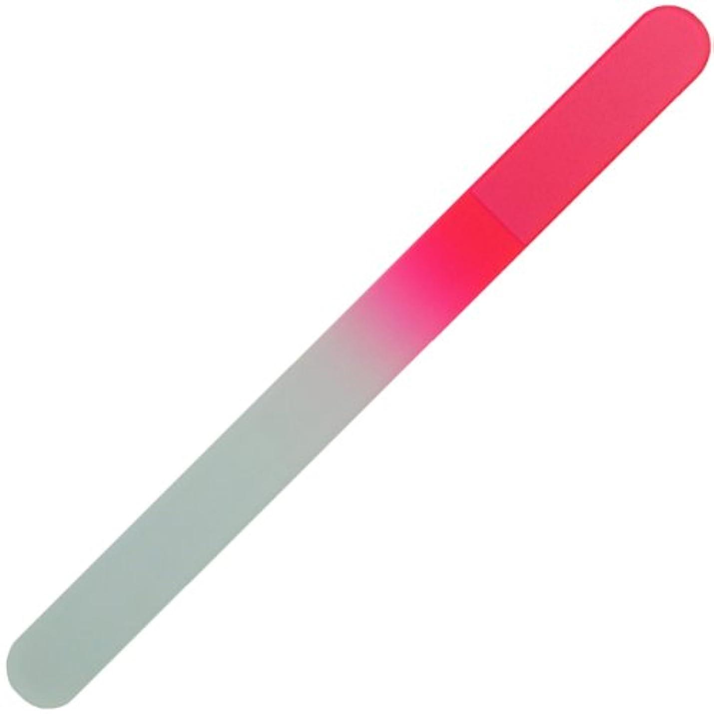 コカイン言うレキシコンチェコ の職人が仕上げた ガラス製 爪やすり 135mm 両面タイプ ピンク  (透明ソフトケース入り)