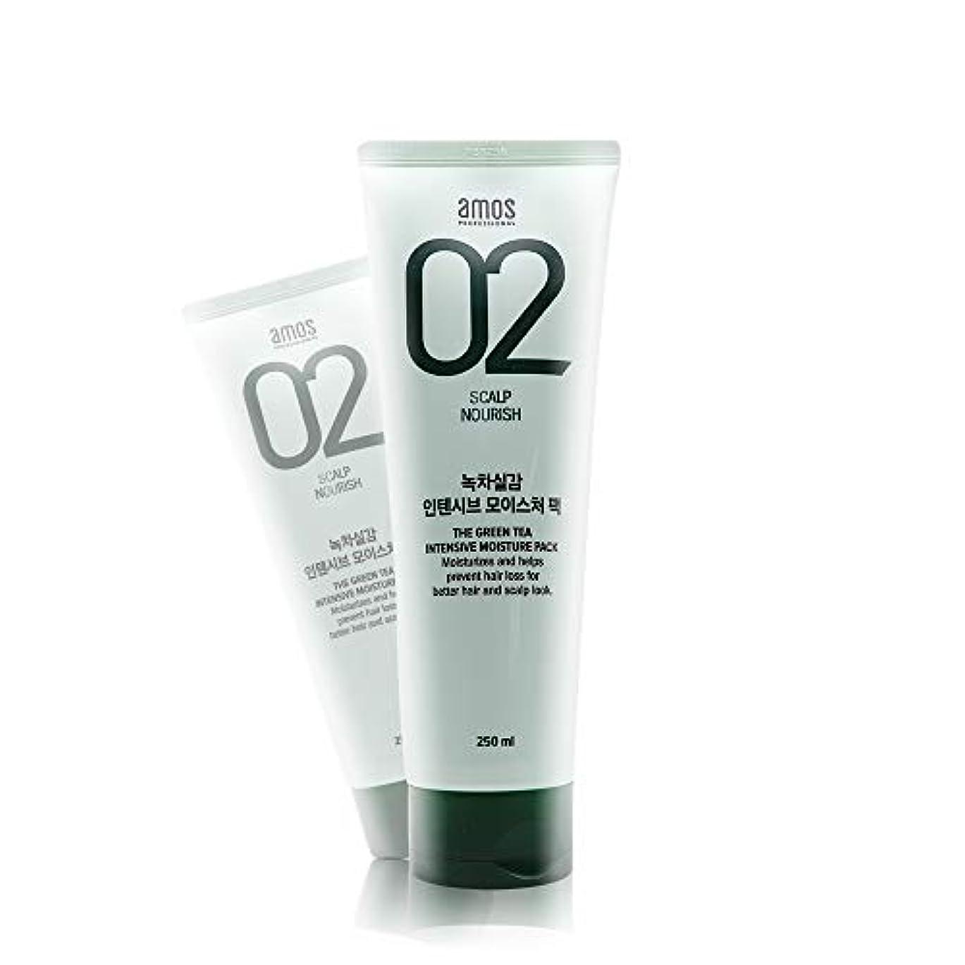 暖かくローマ人平行アモス AMOS 緑茶実感インテンシブモイスチャーパック 250g, Feel the Green Tea Intensive Moisture Hair Pack