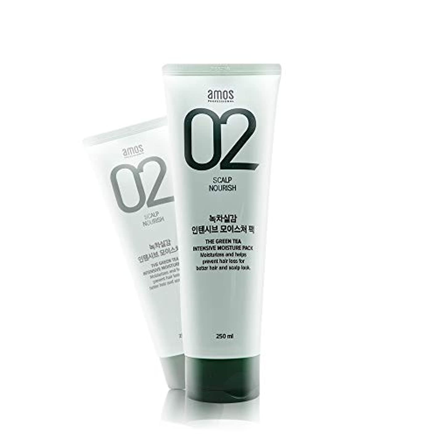 集まる呼吸する気になるアモス AMOS 緑茶実感インテンシブモイスチャーパック 250g, Feel the Green Tea Intensive Moisture Hair Pack