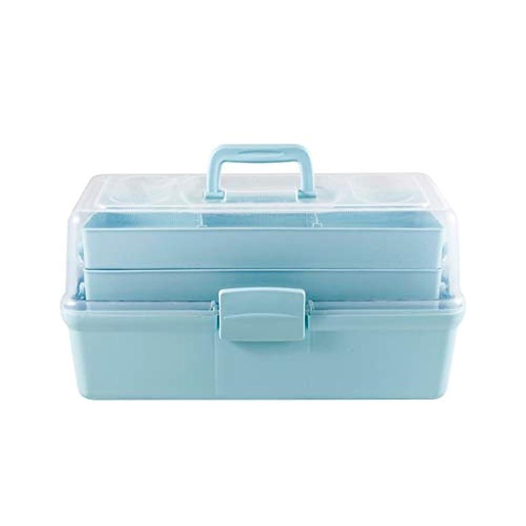 マイルストーン再集計中止します世帯の薬品箱の青および白を使用して学校の工場のために適した多層大きい救急箱の携帯用設計 SYFO (Color : Blue)