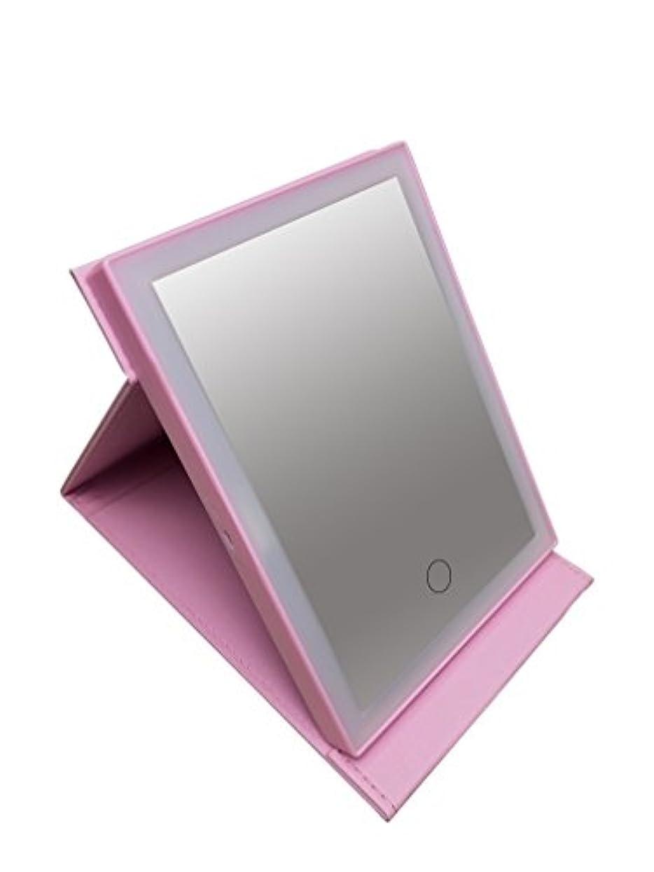 日付付きマージン少し安住商事 LEDライトで光る化粧鏡 レザー調カバー 女優ミラー 鏡 メイク メイクミラー 三段階調光LEDライト付き 化粧鏡 照明 USB充電式 メイク直し (ピンク)