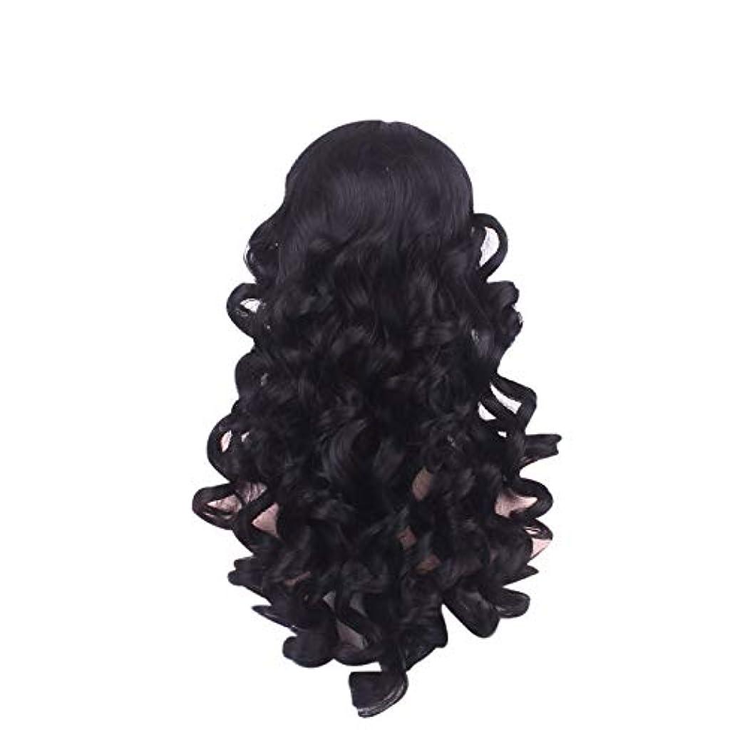 アスペクト割り当てる九時四十五分女性の長い巻き毛のファッションかつらローズネット65 cm
