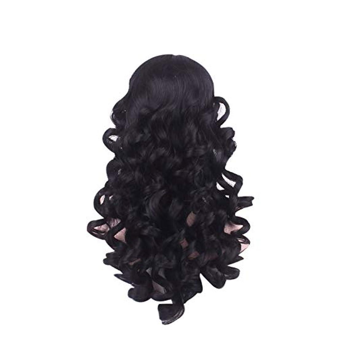 案件うまイノセンス女性の長い巻き毛のファッションかつらローズネット65 cm