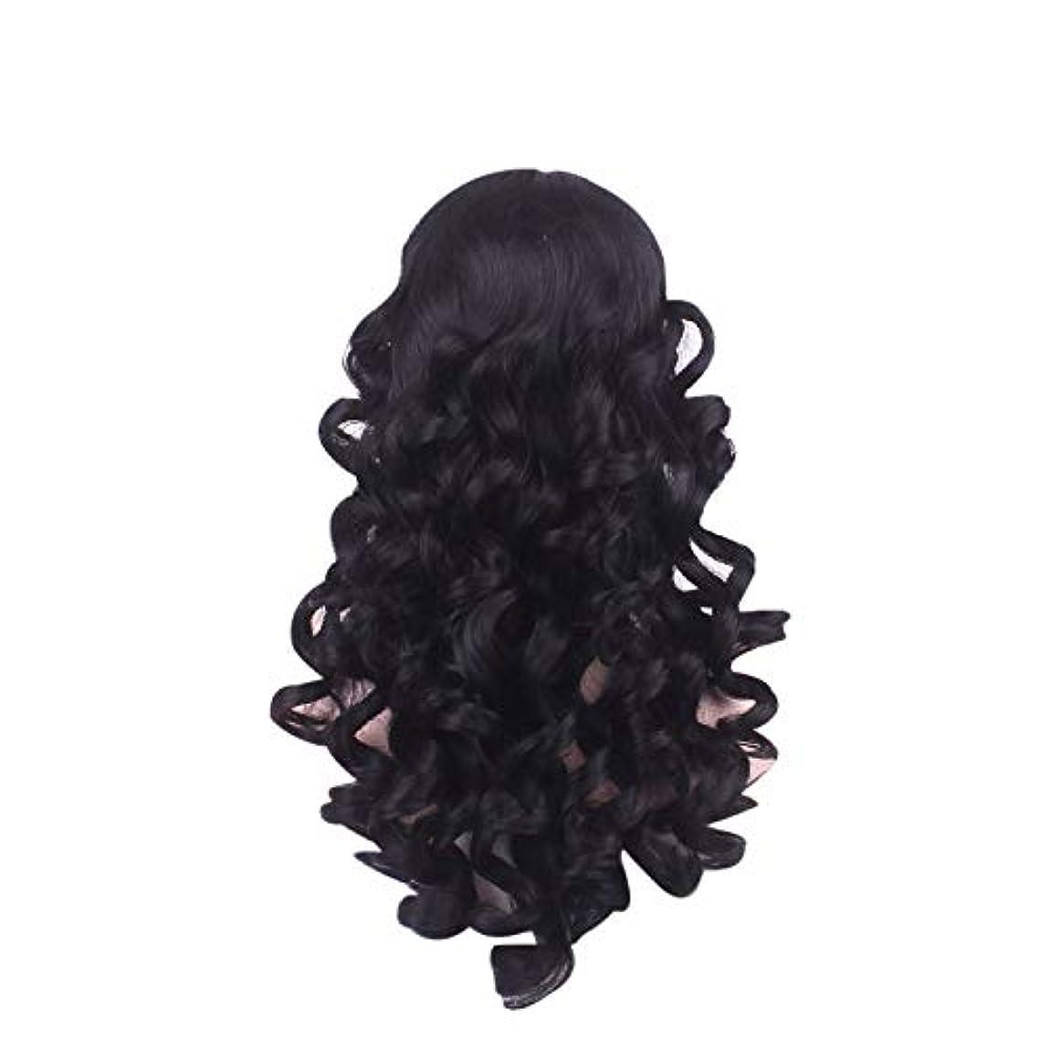 追い越す予報毛布女性の長い巻き毛のファッションかつらローズネット65 cm