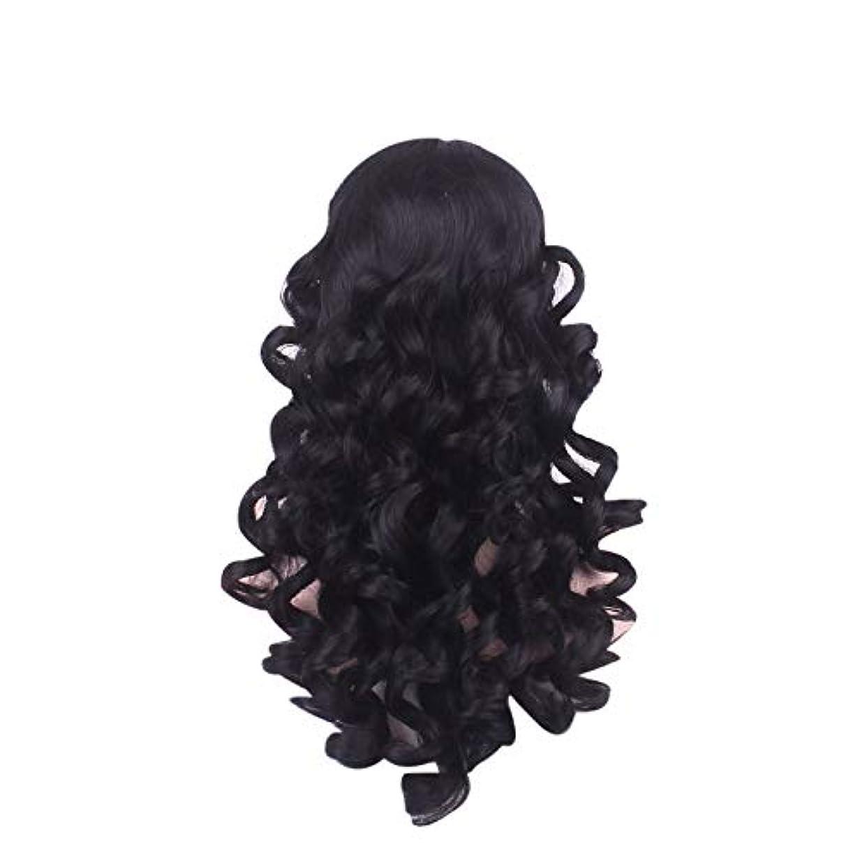 現在花リップ女性の長い巻き毛のファッションかつらローズネット65 cm