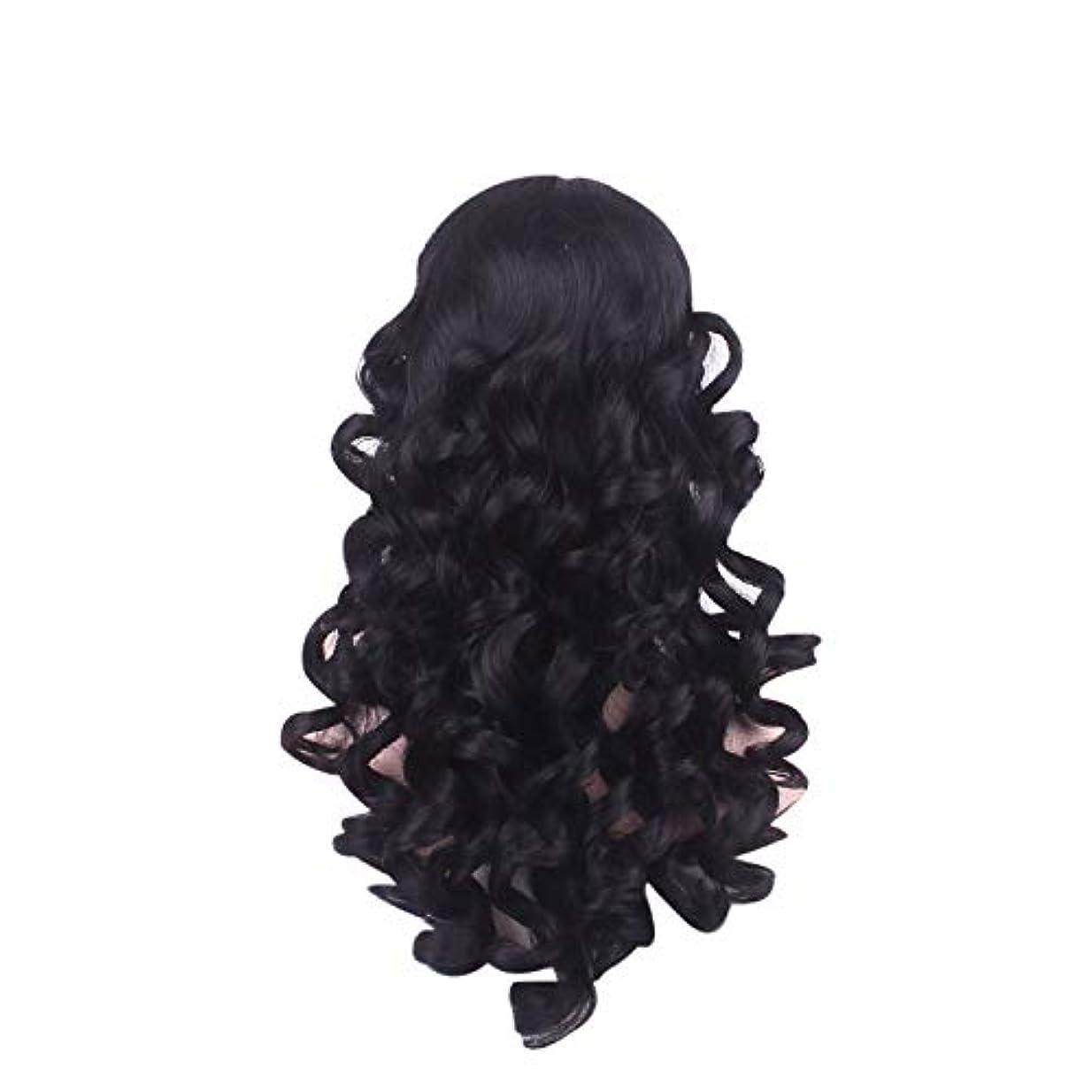友だち動脈余韻女性の長い巻き毛のファッションかつらローズネット65 cm