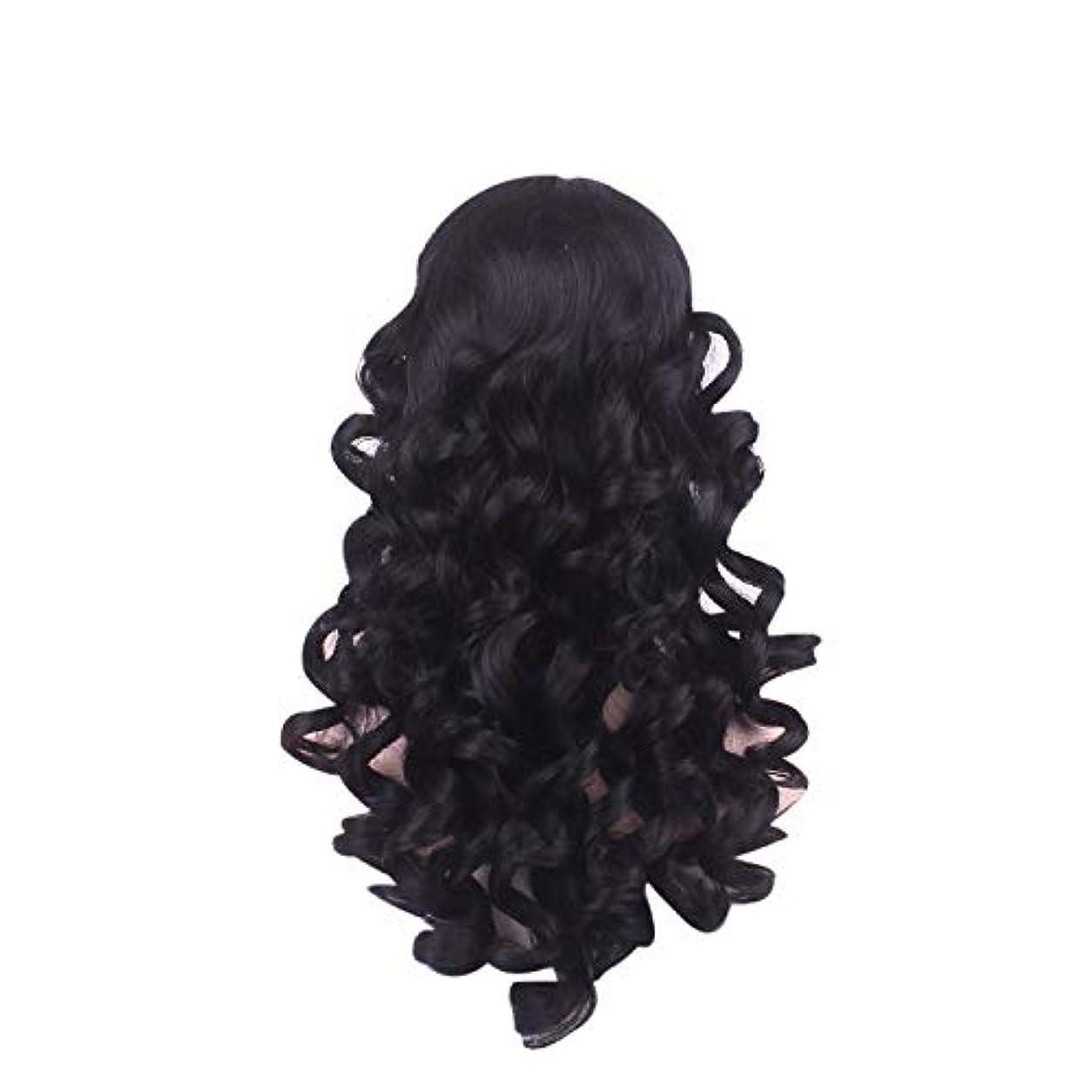 不平を言うピクニックをする繁栄する女性の長い巻き毛のファッションかつらローズネット65 cm