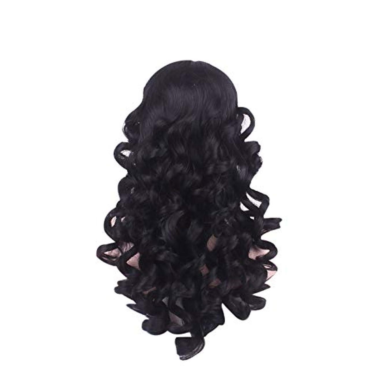 第二スーパーマーケットあえぎ女性の長い巻き毛のファッションかつらローズネット65 cm