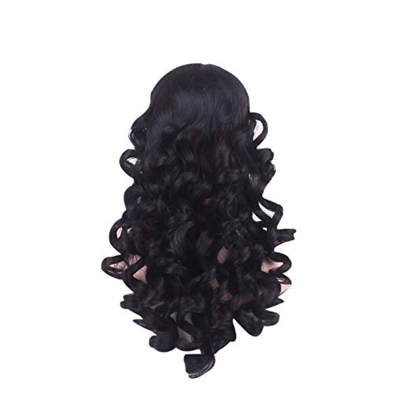 悔い改めストロークありがたい女性の長い巻き毛のファッションかつらローズネット65 cm