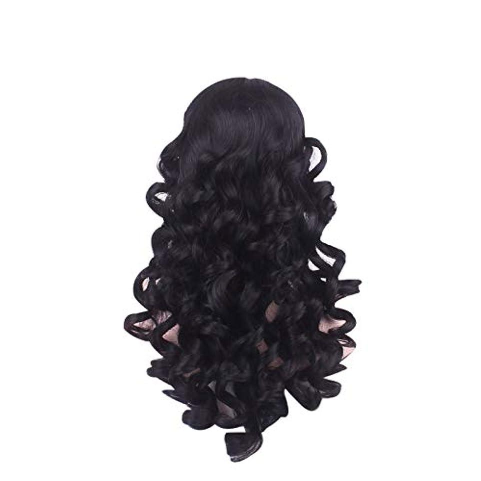 むしゃむしゃ見通し強制的女性の長い巻き毛のファッションかつらローズネット65 cm