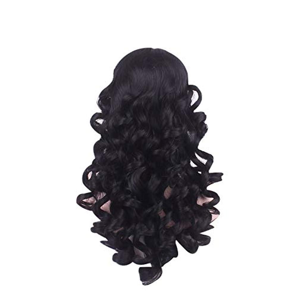 致命的なライナー誠意女性の長い巻き毛のファッションかつらローズネット65 cm