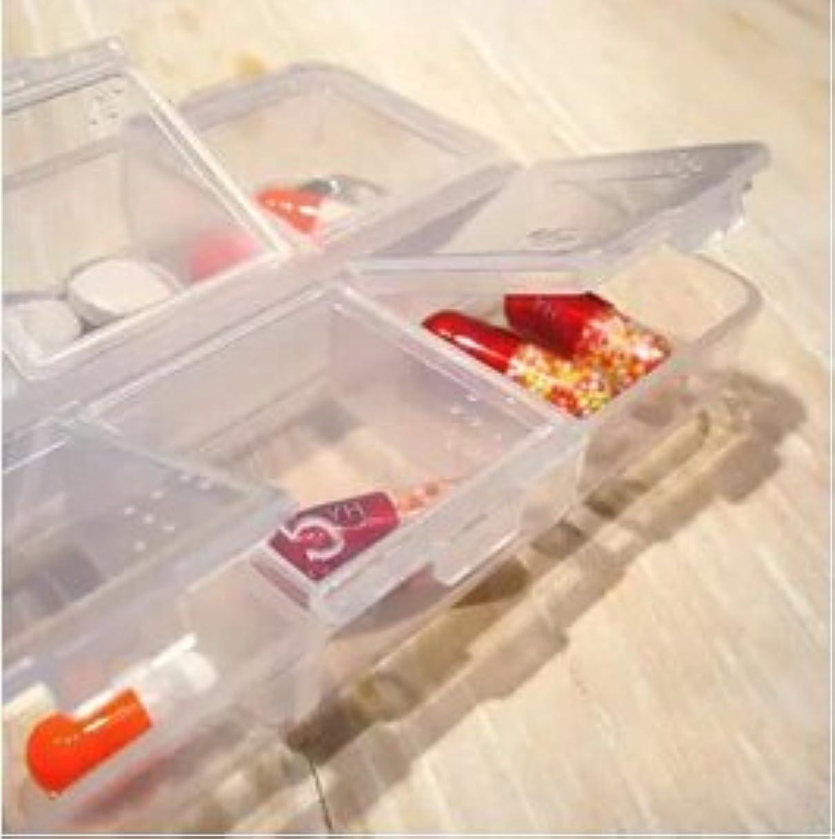 ガム抜本的な広々としたLorny (TM) 【送料無料】6スロット透明なプラスチックピルボックス医学オーガナイザー多機能ピルケースポータブルストレージボックス [並行輸入品]