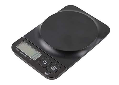 パール金属 クッキングスケール(デジタルタイプ) ブラック 17.5×11.6×2.5cm 2.0kg/1g 用 D-5159