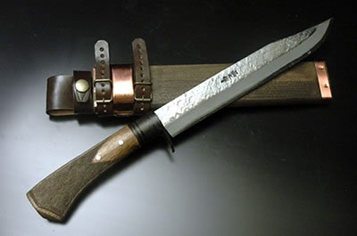 フロンティア剣鉈テェッカー 180 青鋼 両刃 真鍮ツバ