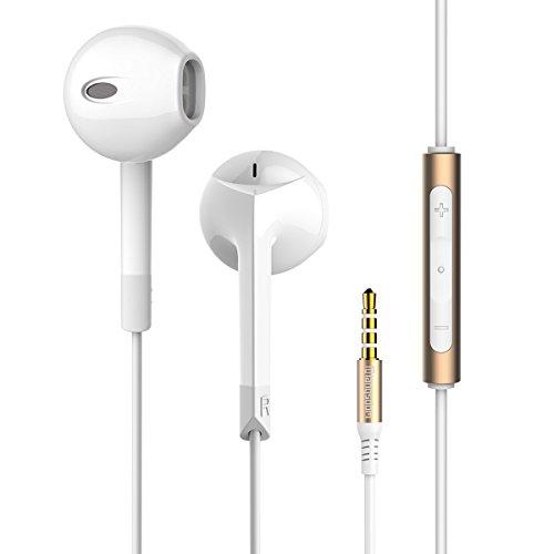 Langsdom  イヤホン スマホ EarPods型 密閉型 高音質 iphone  android 多機種対応 マイク付き ホワイト&ブラック E6 (ホワイト)