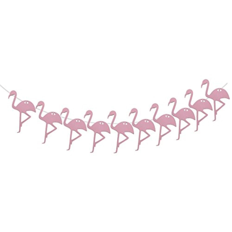 amleso バナー ハワイアン フラミンゴ形状 木製 バンチング 誕生日 パーティー 装飾 吊り飾り ピンク