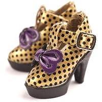 【全9色】 ブライス 1/6ドール 靴 リボン付き ドット柄 ハイヒール ゴールド