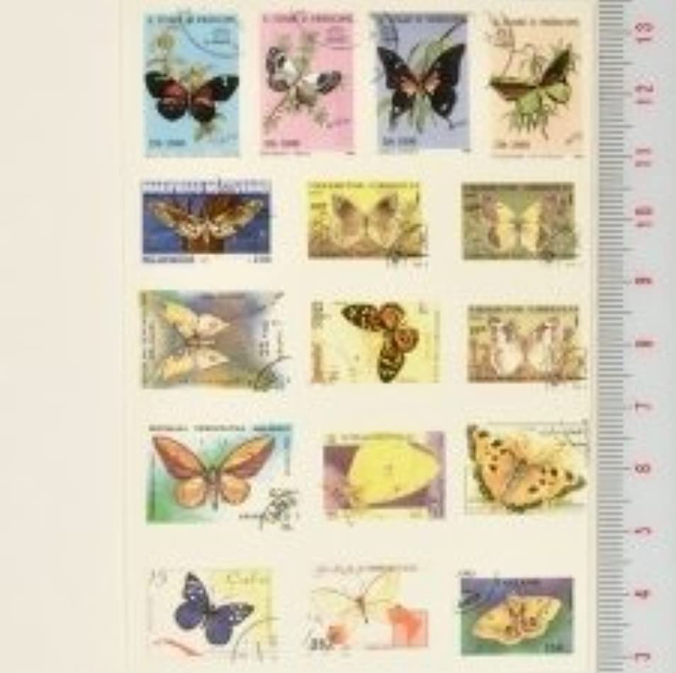 あざニンニク強調【スクラップ ネイルシール】世界切手《蝶?バタフライ》(11)1枚組