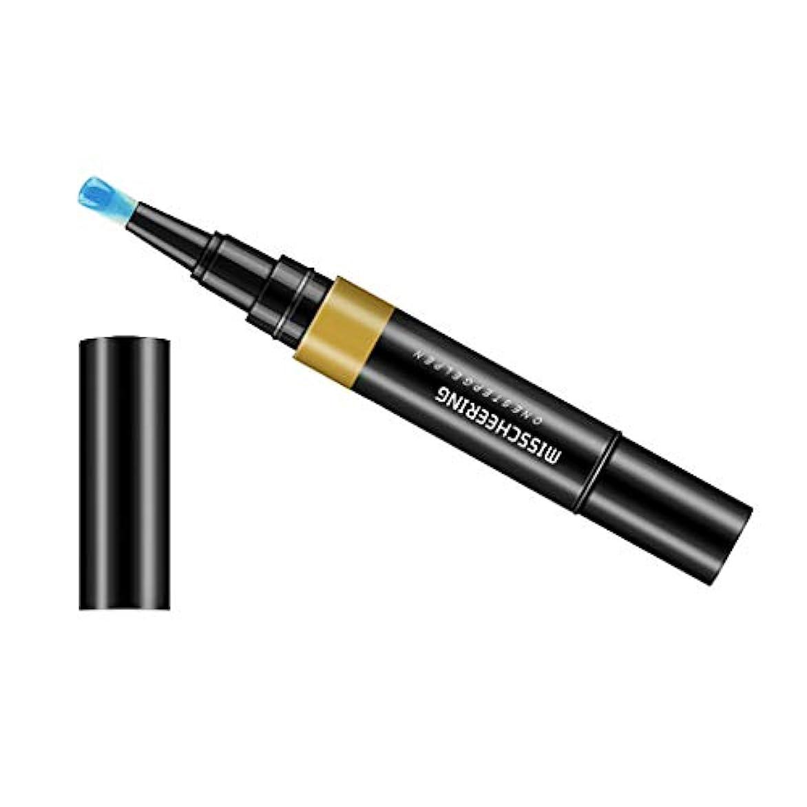 混乱ショートカットストライプネイルアートペン マニキュアペン セルフネイル 3 in 1 カラージェル ネイルデザイン ジェルネイル - ブルー