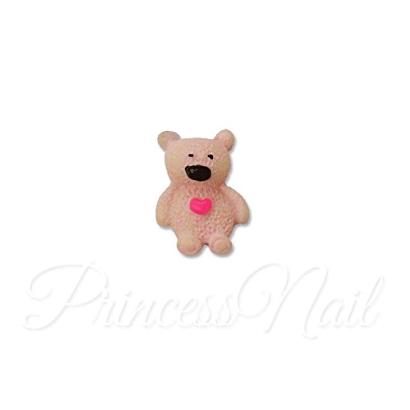 嫌いバスタブ製品デコパーツ 胸にハートの可愛いクマ ピンク16mm×12mm