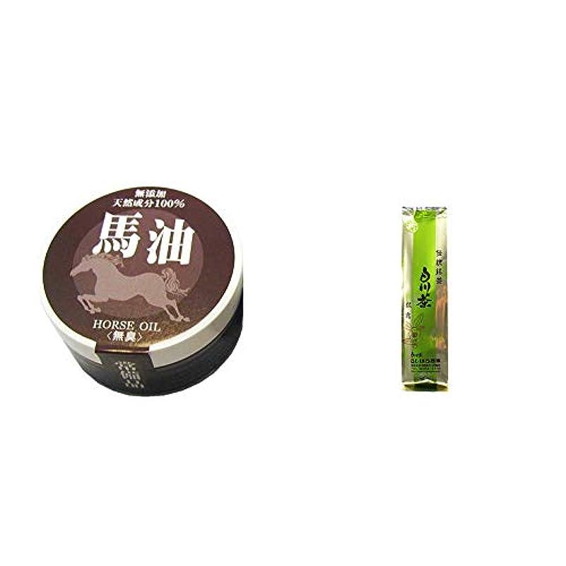 [2点セット] 無添加天然成分100% 馬油[無香料](38g)?白川茶 伝統銘茶【松露】(180g)
