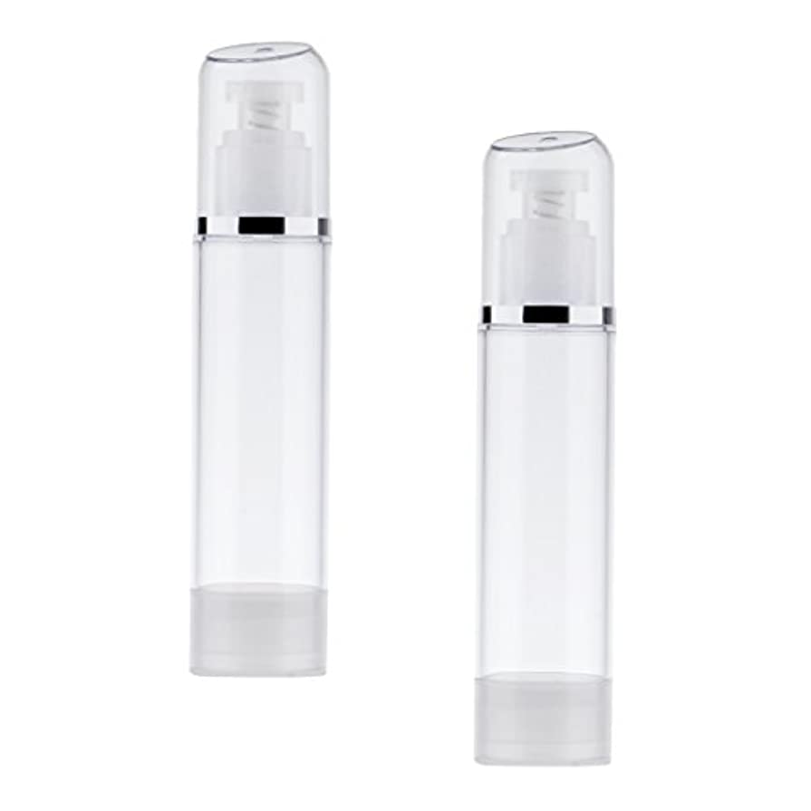 シート入る追い越す2個 空ボトル ポンプボトル エアレス ポンプディスペンサー ボトル プラスチック 100ml クリア