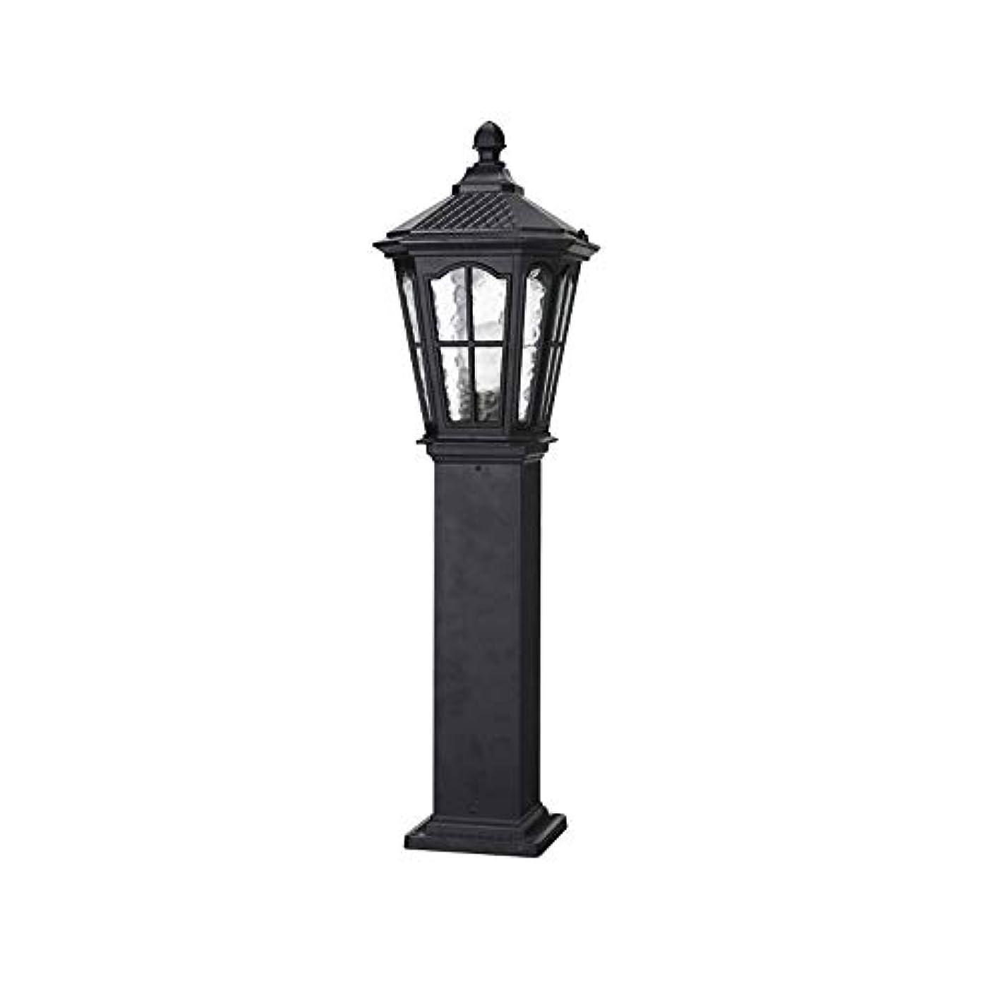 熟考する境界華氏Pinjeer 風景ライトip54防水ヴィンテージガラスe27ポストライト屋外ヨーロッパアルミコラムランプガーデン芝生ストリートヴィラ世帯コミュニティ装飾ピラーライト (Color : Black, サイズ : Height 60cm)