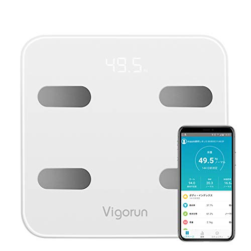 HolyHigh 体重計 体脂肪 体組成計 bluetoothボディスケール 体水分/筋肉量/骨格筋/BMIなど測定 乗るだけで電源ON 見やすい 強化ガラス 8人登録でき 日本語アプリ対応 日本語説明書付き