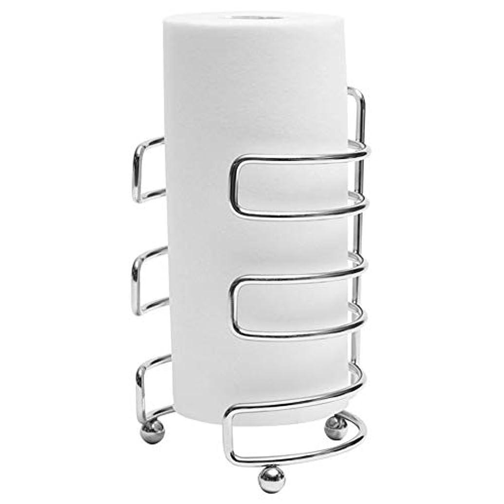 ZZLX 紙タオルホルダー、クリエイティブステンレス鋼ロールホルダーキッチンペーパータオルホルダープラスチックラップホルダー ロングハンドル風呂ブラシ