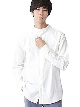 (モノマート) MONO-MART ハイストレッチ L/S オックスフォード シャツ バンドカラー ボタンダウン オックスシャツ メンズ【バンドカラー】オフホワイト Lサイズ
