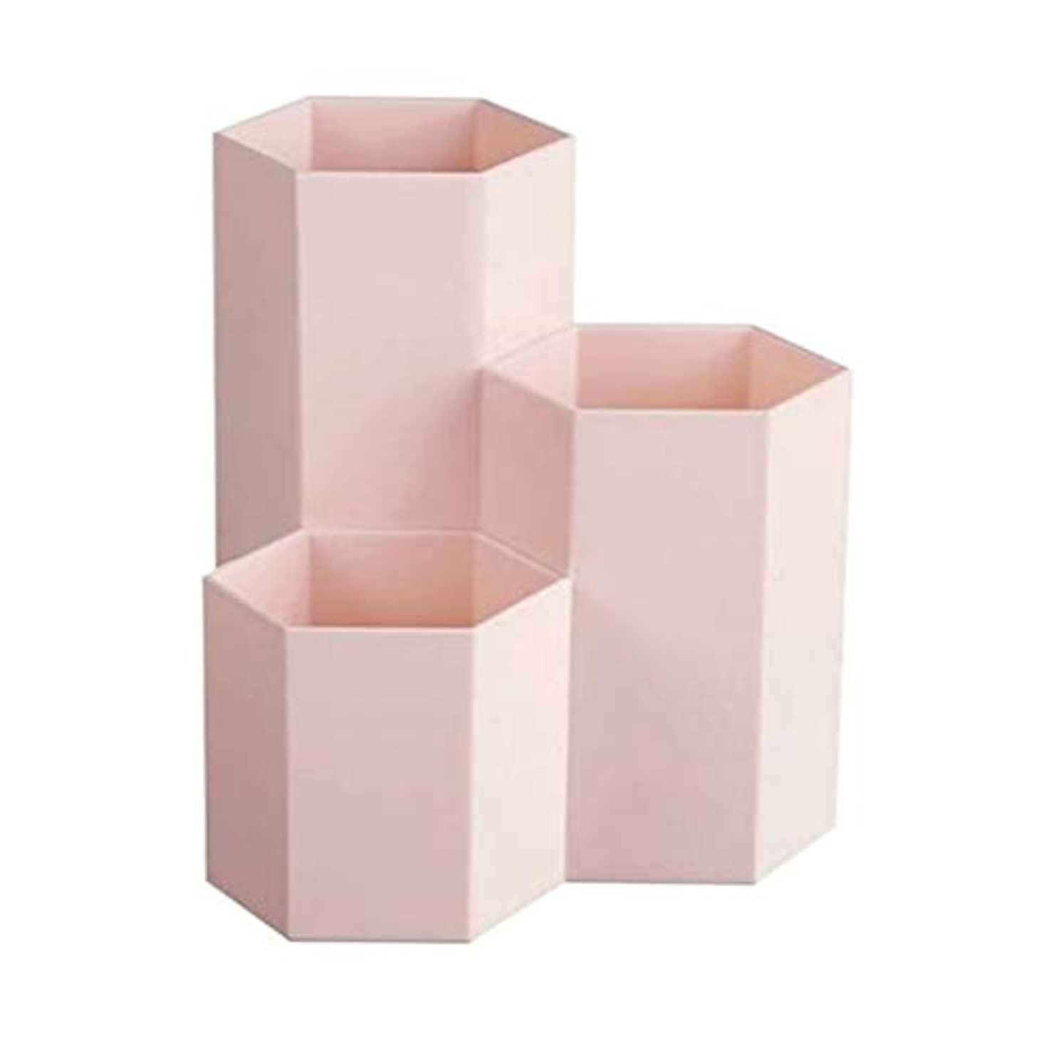 ミルク口実インシュレータTerGOOSE 卓上収納ケース メイクブラシケース メイクブラシスタンド メイクブラシ収納ボックス メイクケース ペンホルダー 卓上文房具収納ボックス ペン立て 文房具 おしゃれ 六角 3つのグリッド 大容量 ピンク