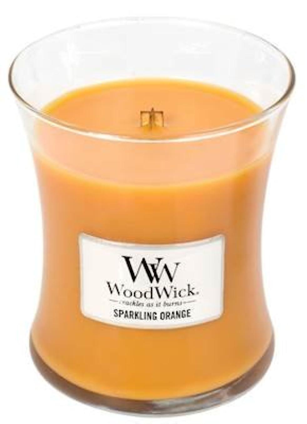 踏みつけ垂直禁止SparklingオレンジWoodWick 10oz香りつきJar Candle