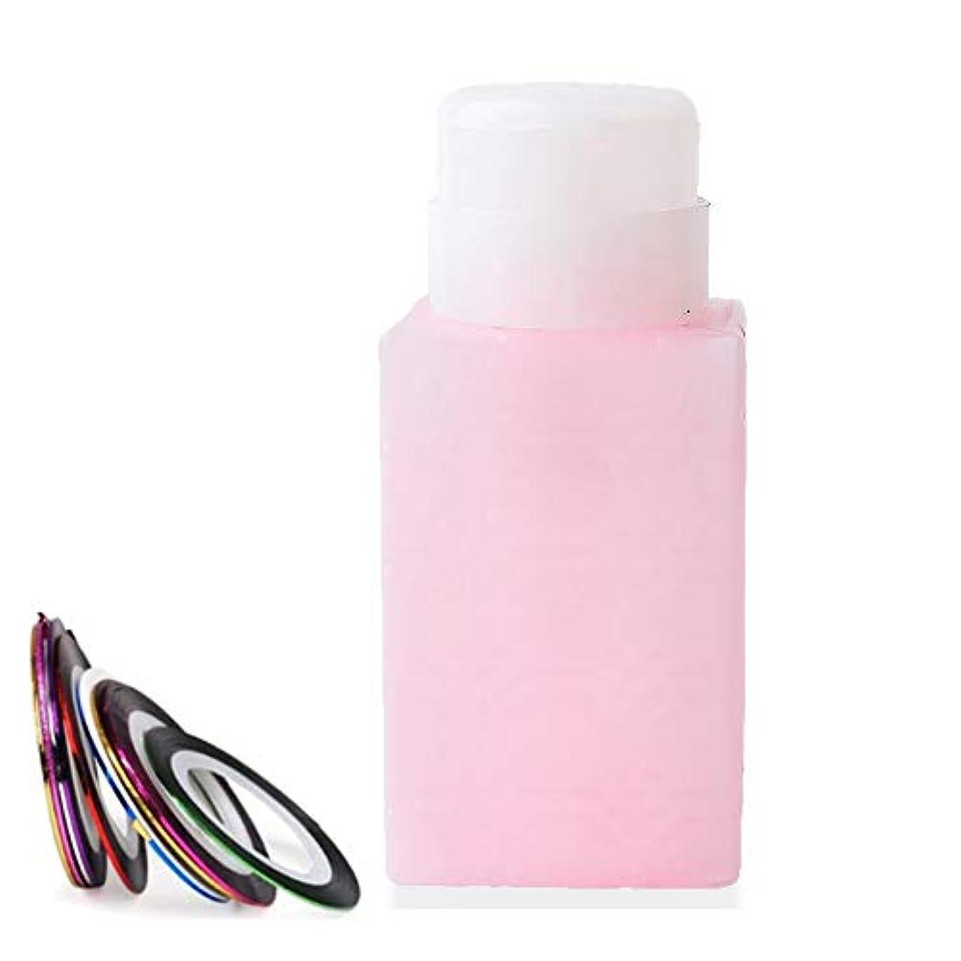 算術動く悲惨な空ポンプボトル ポンプディスペンサー ネイルワイプ瓶 ジュルクリーナー ジュルリムーバー 可愛い (ピンク)