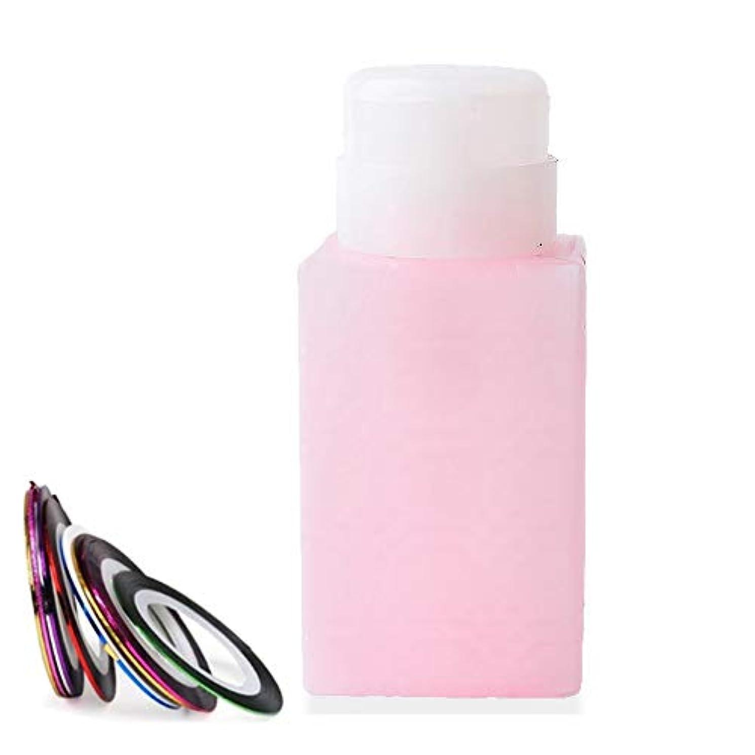粘性のいつでもピアース空ポンプボトル ポンプディスペンサー ネイルワイプ瓶 ジュルクリーナー ジュルリムーバー 可愛い (ピンク)