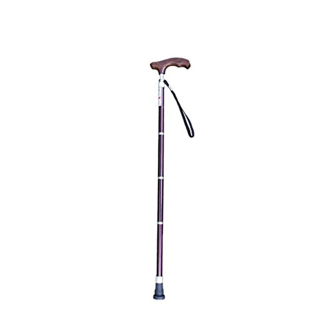 守銭奴ポゴスティックジャンプ直接古い松葉杖杖折りたたみ式伸縮式バックパックソリッドウッドハンドル軽量ノンスリップトレッキングポールウォーキングスティック (色 : Purple)