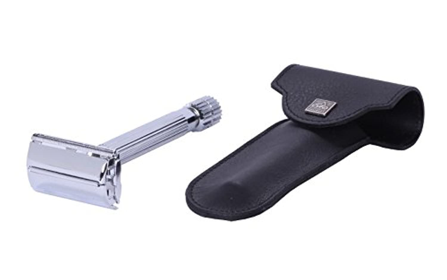 Erbe Safety Razor Tradition Chrome with genuine Leather Etui black